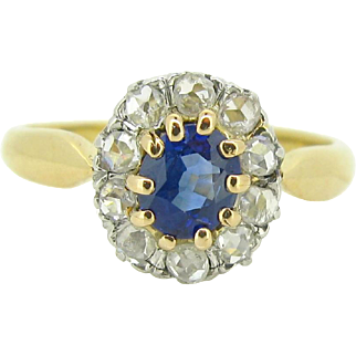 French antique Sapphire and diamonds engagement ring, 18kt gold and platinum