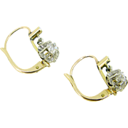 Antique French Dormeuses earrings, old mine cut diamonds and 18kt gold, c.1900 - Red Tag Sale Item