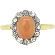 Belle Epoque French Coral Diamonds ring, 18kt gold and platinum , circa 1910