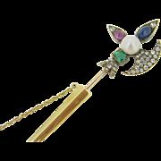 Stunning Antique Halberd / Axe gemtsones jabot pin, 18kt gold, c.1880