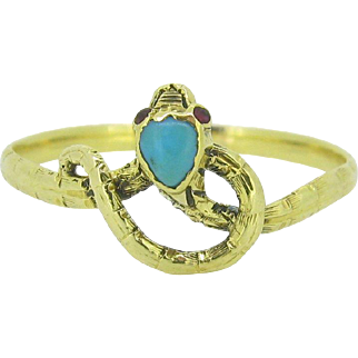 RARE Victorian Snake turquoise ring, 18kt gold, c.1880