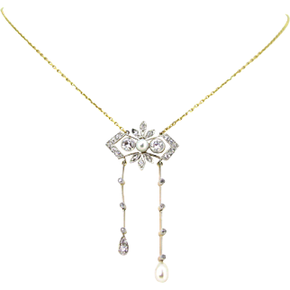 French Belle Epoque / Edwardian necklace, 18kt gold and platinum, circa 1915