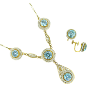 Stunning French Victorian set of jewels, blue Zircon and pearls, 14kt gold, c.1880