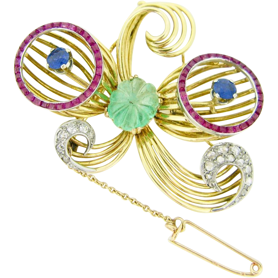 Retro Gemstones brooch, 18kt gold and platinum, circa 1940