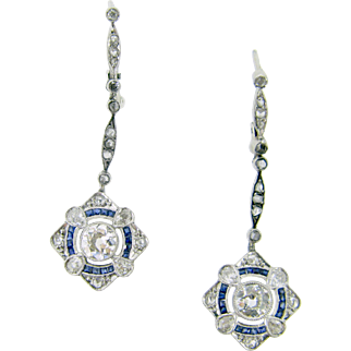 Stunning FRENCH Edwardian diamonds and sapphires earrings, 18kt gold and platinum, c.1910