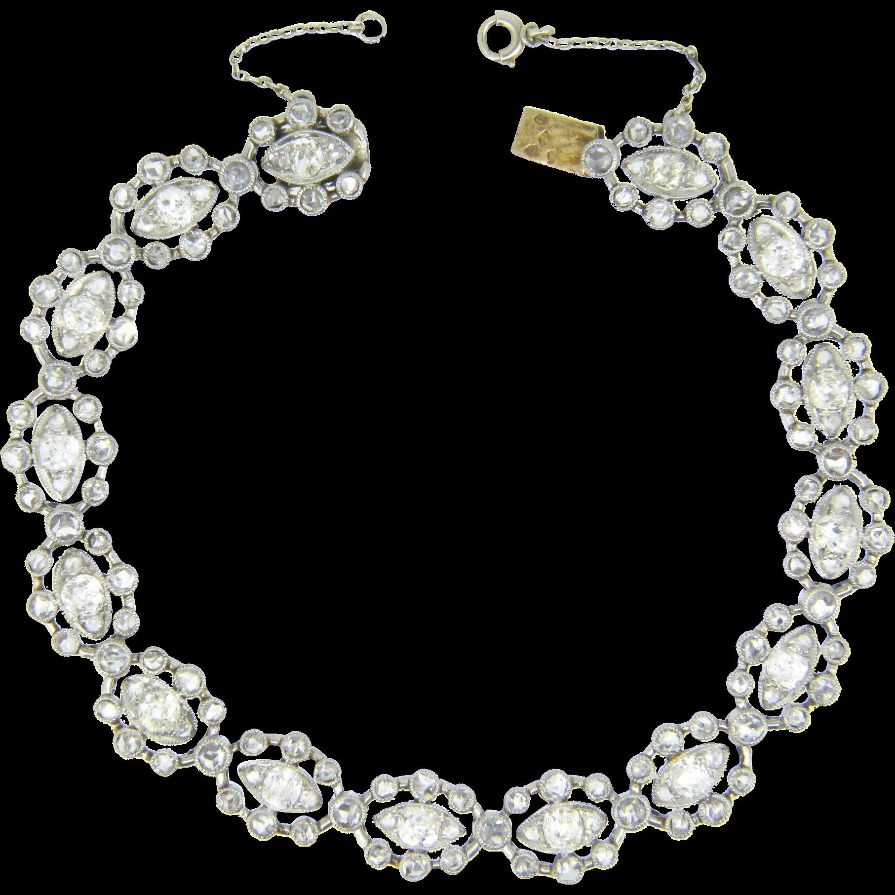 French Belle Epoque Diamonds Bracelet, 18kt gold and platinum, .c1910