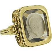 An Etruscan Revival intaglio ring, 18kt gold, c.1880