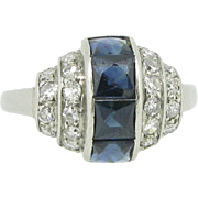 A rare French Art Déco ring with French cut sapphires and diamonds, platinum, c. 1920