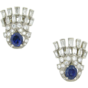 Ravishing Art Deco style Earrings with sapphires and diamonds, 18kt gold and platinum