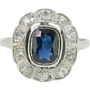 Beautiful Belle Epoque Sapphire and diamonds ring, 18kt gold and platinum, c.1905