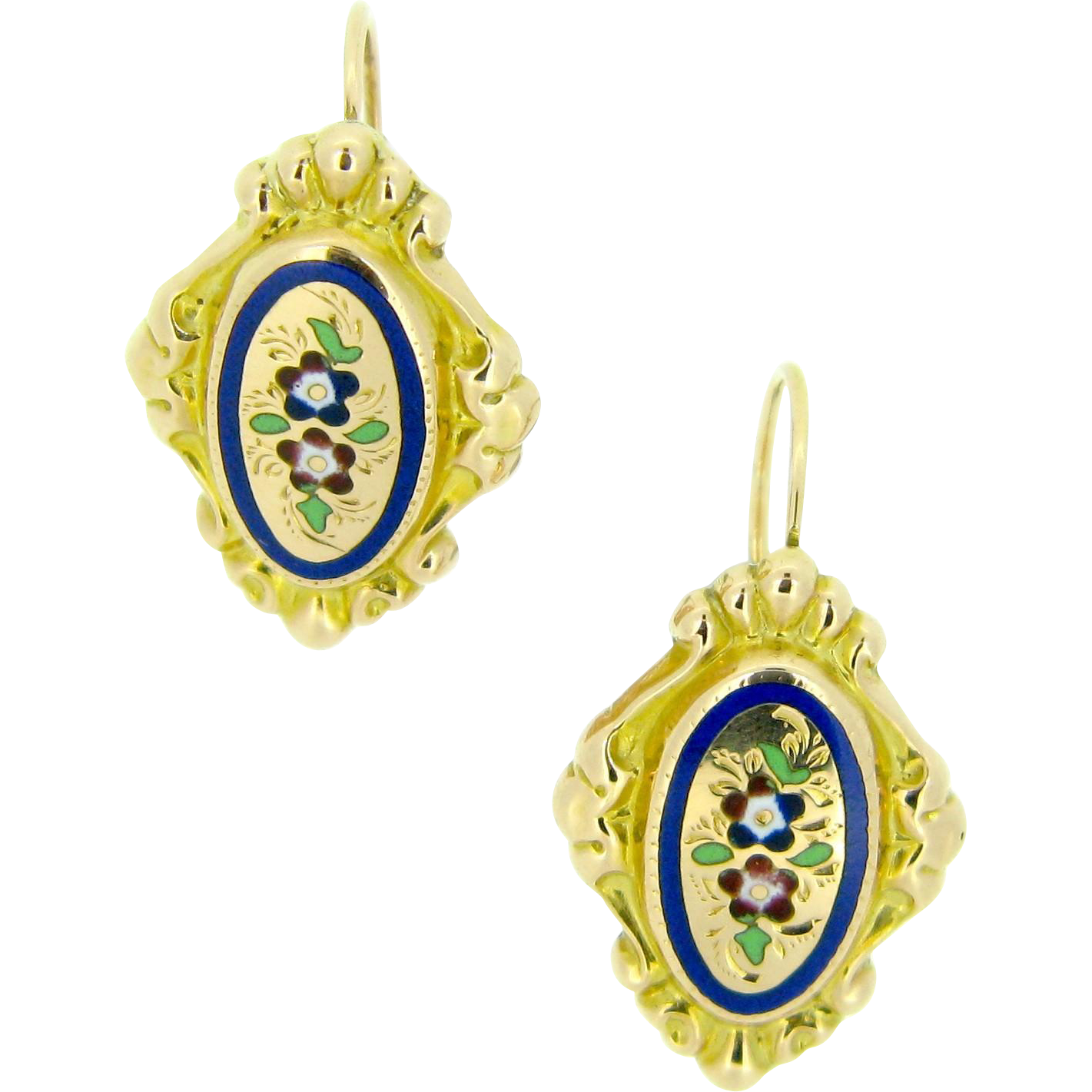 Ravishing French enamelled dormeuses earrings, 18kt gold, c.1880, Lyon, FRANCE