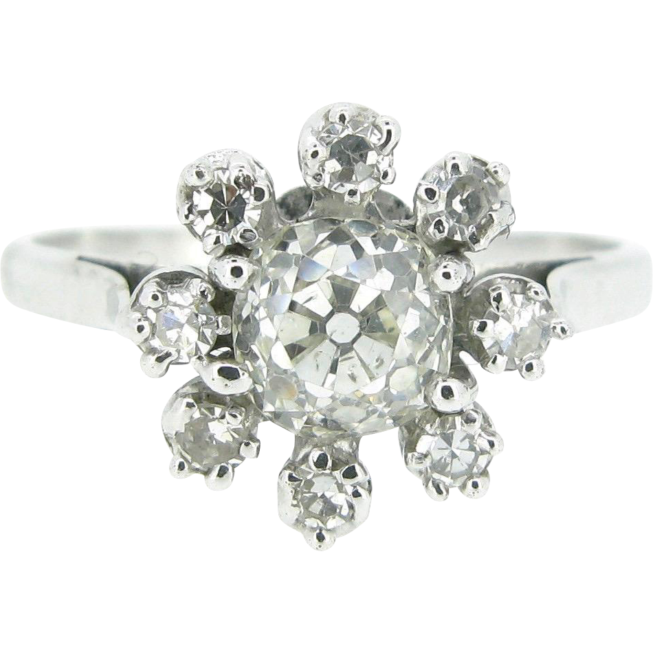 Lovely French 1ct app Old mine cut Diamonds ring, 18kt gold