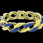 Stunning Vintage Lapis Lazuli chain bracelet, 18kt gold, c.1970