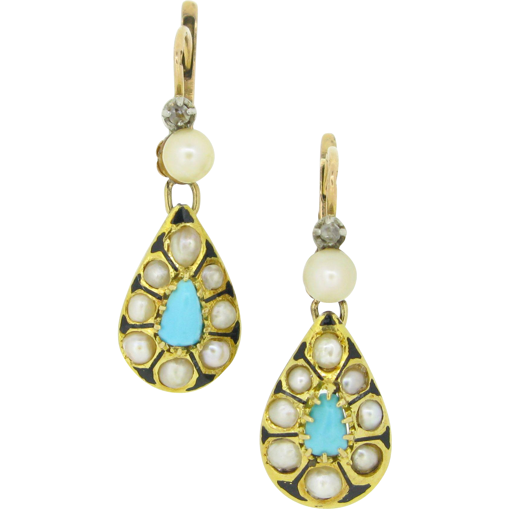 Ravishing Antique dormeuses earrings set with turquoises and fine pearls, 18kt gold and enamel, c.1880