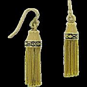 Victorian Tassels earrings, 18kt yellow gold and enamel, c.1880