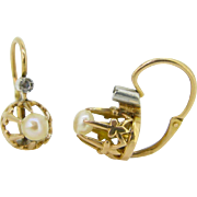Lovely French Victorian pearls dormeuses / earrings ~ c.1880