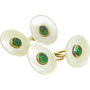 Fabulous French cufflinks handcrafted in 18kt gold, nacre and emeralds ~c.1920