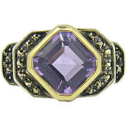 Stunning Retro Amethyst ring ~ 18kt gold and silver ~ c.1940