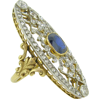STUNNING Antique Sapphire and diamonds ring, 18kt gold and platinum, c.1900