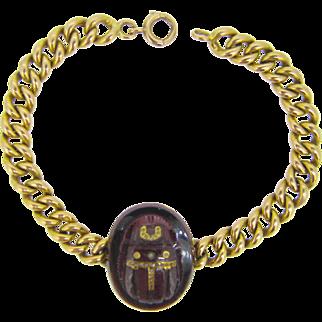 French Victorian Egyptian Revival scarab garnet bracelet ~ rose cut diamonds, 18kt gold, c.1880