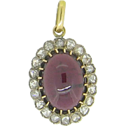 Lovely Victorian Garnet pendant, rose cut diamonds, 18kt gold and platinum, c.1880