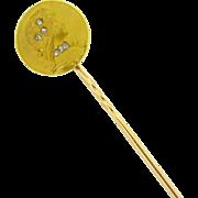 Antique French Art Nouveau Stick pin by EMILE VERNIER, rose cut diamonds, c.1890
