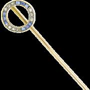 French Edwardian Sapphire and diamonds stick pin ~18kt gold & platinum ~ c.1905
