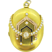 Stunning Victorian Locket, 14kt gold, enamel, pearl and diamonds, c.1880