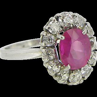 Burmese Ruby and Diamonds Daisy cluster ring, platinum