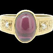 Ravishing French Victorian Garnet ring, pearl, 18kt gold, c.1880