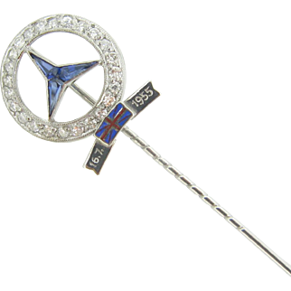 RARE Mercedes Stick pin ~ diamonds and sapphires, 1955 ~ STIRLING MOSS, collector item