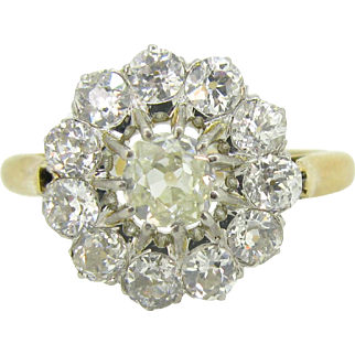 Exquisite French Edwardian diamonds ring, 18kt gold and platinum, c. 1900
