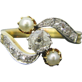 French Edwardian bypass diamonds and pearlring, 18kt gold and platinum, c.1910