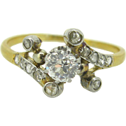Unique Edwardian diamonds ring, 18kt gold and platinum, c.1905