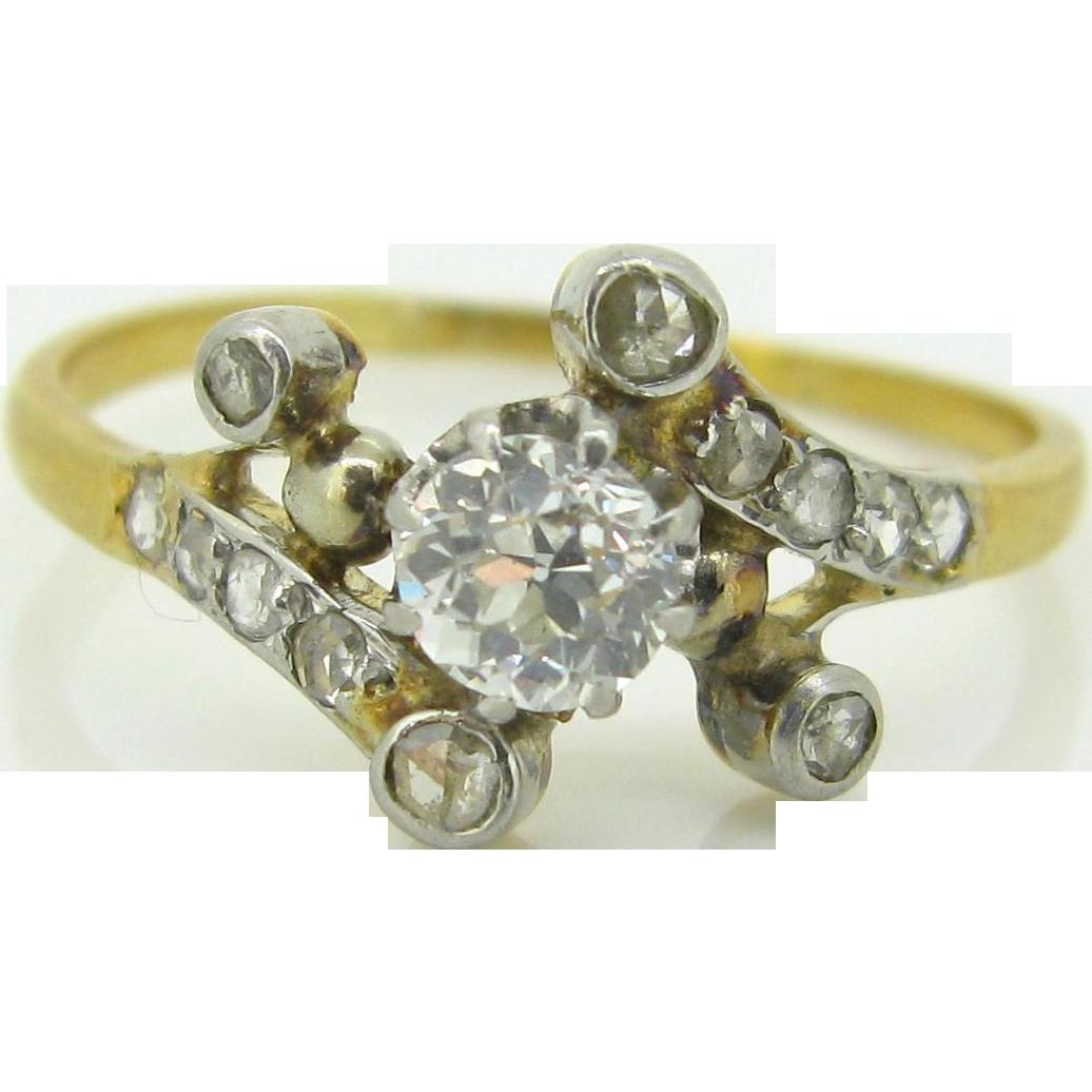 Unique Edwardian diamonds ring, 18kt gold and platinum, c.1905