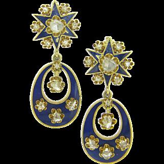 Unique Victorian Earrings with rose cut diamonds, 18kt gold, blue enamel, c.1880