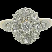 Ravishing French Edwardian diamonds ring, rose cut, 18kt gold and platinum, c. 1900 - Red Tag Sale Item