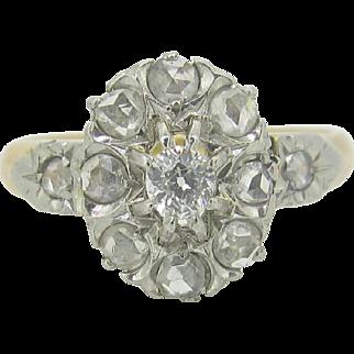 Ravishing French Edwardian diamonds ring, rose cut, 18kt gold and platinum, c. 1900