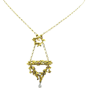 French Victorian necklace ~ négligé, 18kt gold and platinum, rubies and diamond, c.1880