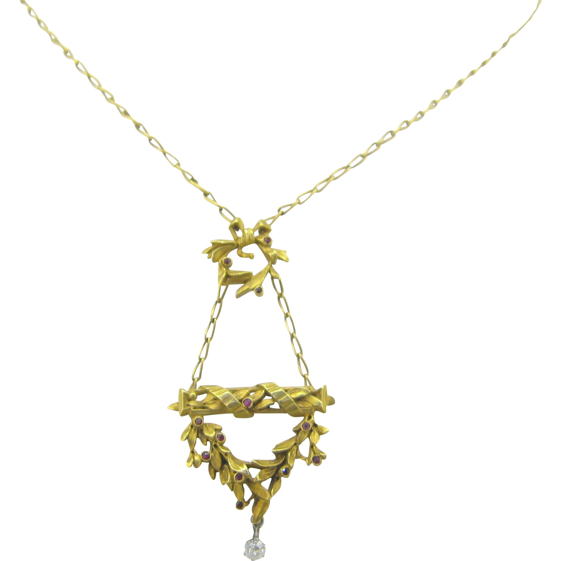 French ART NOUVEAU necklace, 18kt gold and platinum, rubies and diamond, c.1900