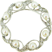 Vintage Pearls and Diamonds Pendant / Brooch, 13kt white gold