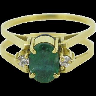RARE Vintage FLIP ring ~ emerald / sapphire and diamonds, 18kt gold
