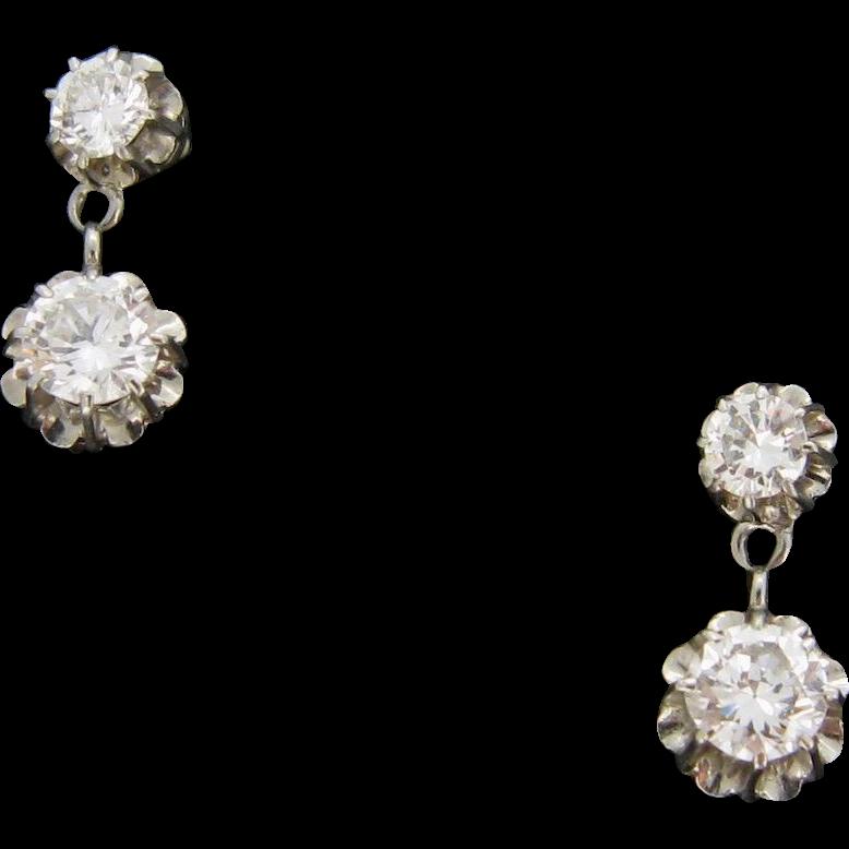 Art Deco Platinum diamonds earrings, c.1925