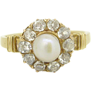 Victorian Pearl and diamonds ring, 18t gold c.1880