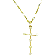 Antique French Cross pendant and chain with pearls,18kt gold