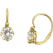 Antique French Dormeuses earrings, diamonds, 18kt gold