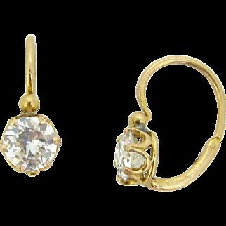 Antique French Dormeuses earrings, diamonds, 18kt gold