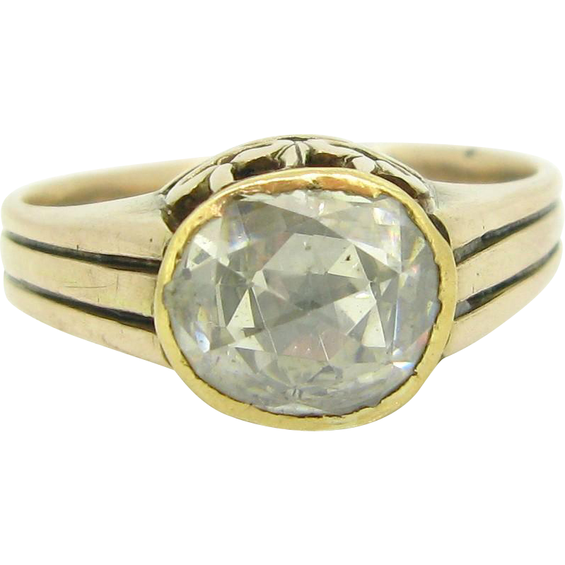 UNIQUE French Rose cut diamond set on 9kt gold, circa 1870