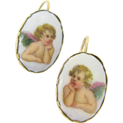 RARE French Raphael Cherubs enamel earrings, 9kt