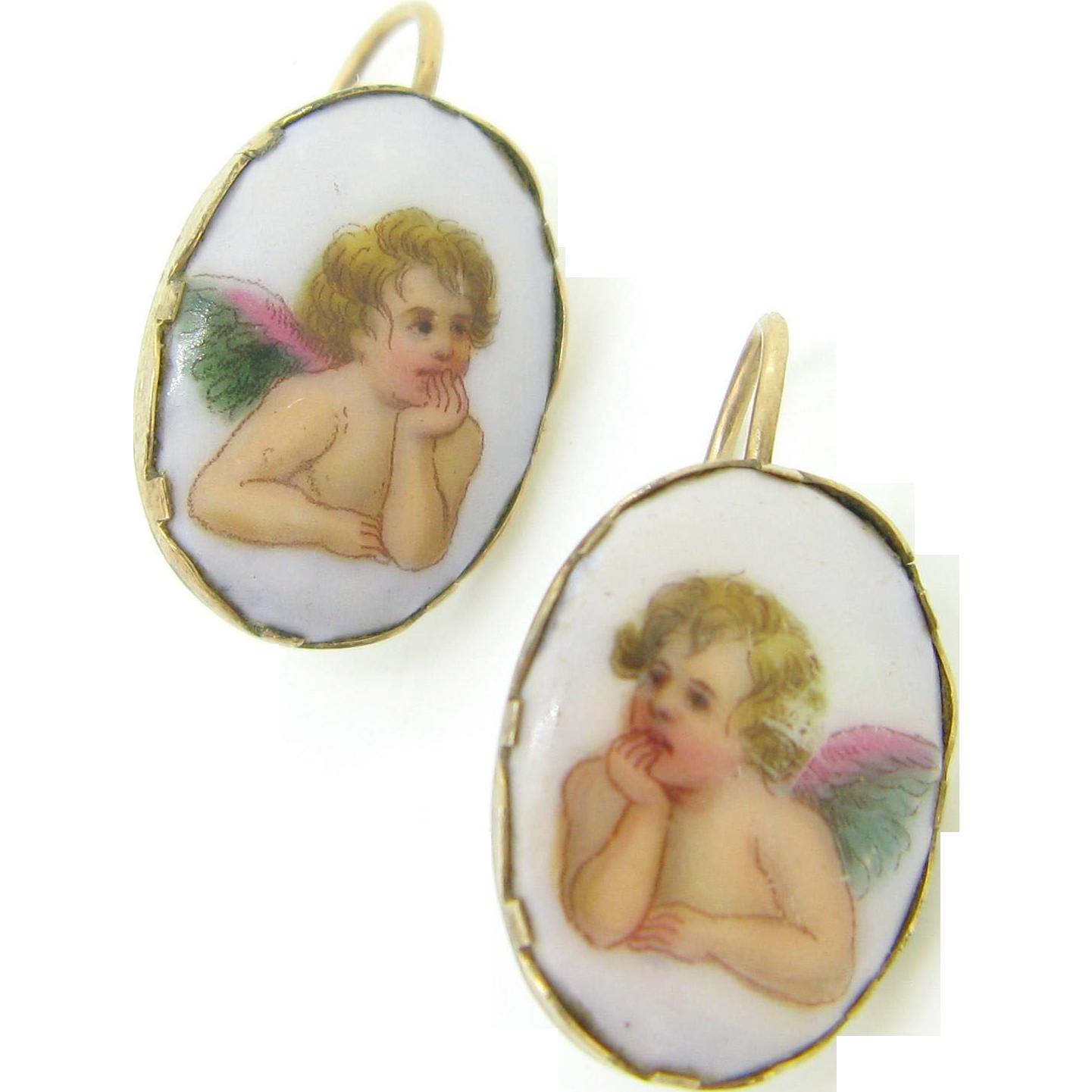 RARE French Raphael Cherubs enamel earrings, 9kt